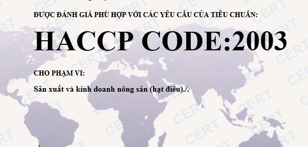 CHỨNG NHẬN HACCP