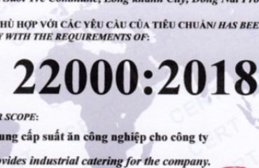 CHỨNG NHẬN ISO 22000:2018, HACCP