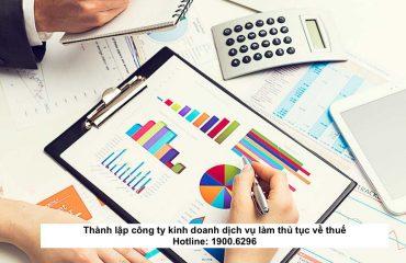 Thành lập công ty kinh doanh dịch vụ làm thủ tục về thuế