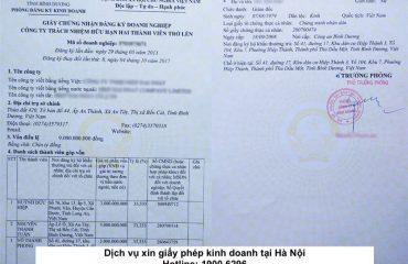 Dịch vụ xin giấy phép kinh doanh tại Hà Nội